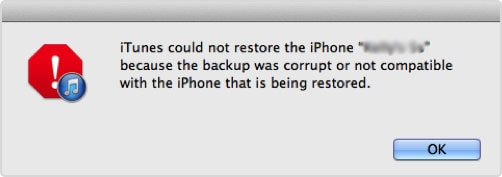 itunes backup corrupt incompatible backup