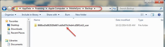 itunes backup location windows 8