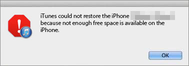 itunes restore problem not enough storage iPhone