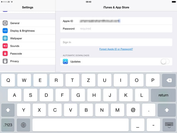Enter the shared apple id and password