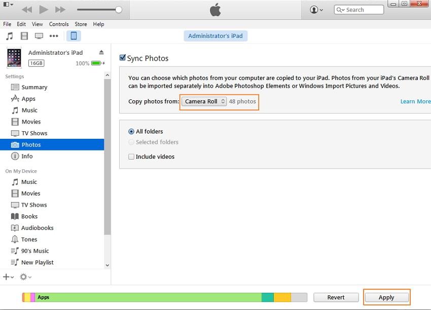 مزامنة الصور من جهاز الكمبيوتر إلى جهاز iPad باستخدام iTunes