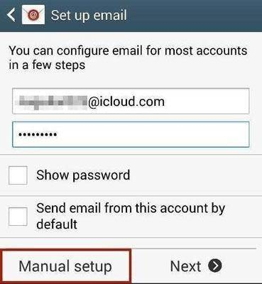 step 2 to set up iCloud account on Android