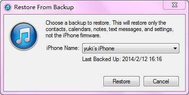 restore iphone to previous backup