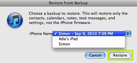 restore iphone photo-Choose the desired backup file