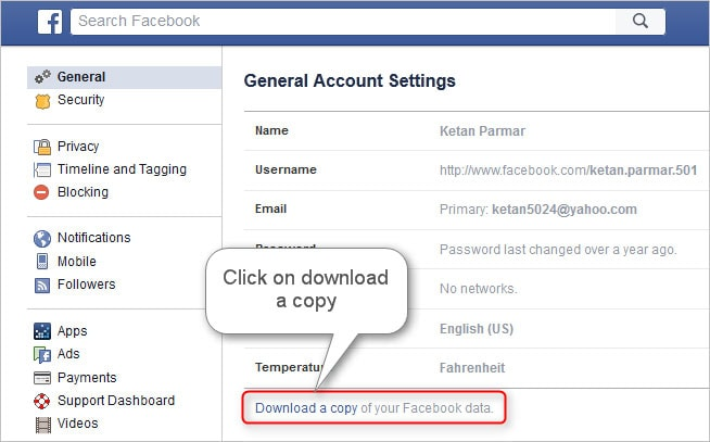 download the copy of your facebook data