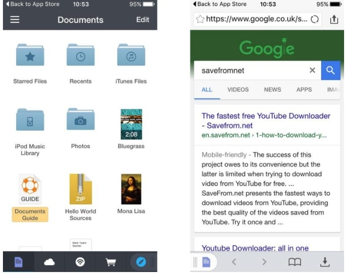 Documents 5 to save YouTube videos to camera roll