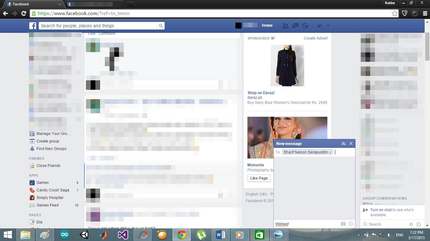 enter facebook messages