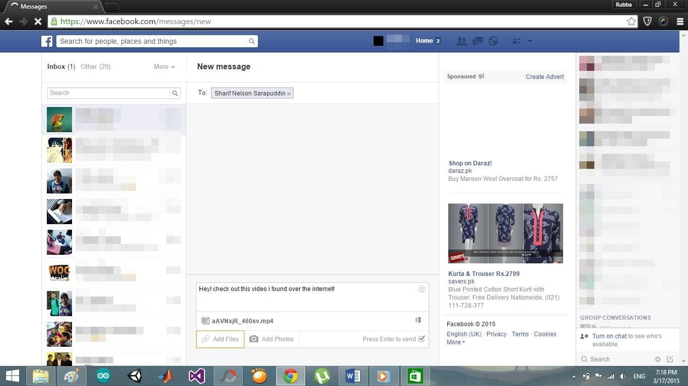 add files when sending facebook message