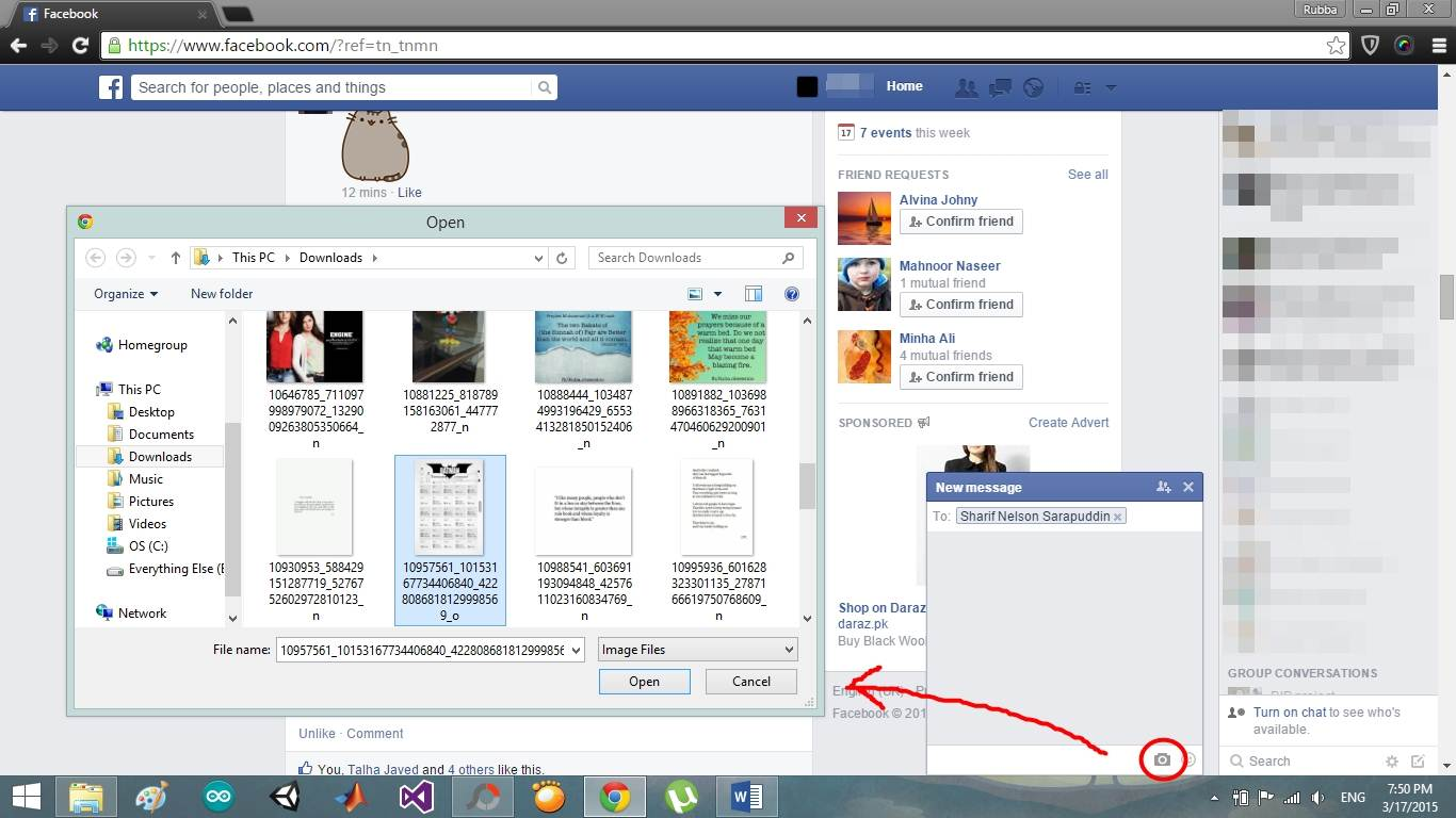 send facebook messages with image