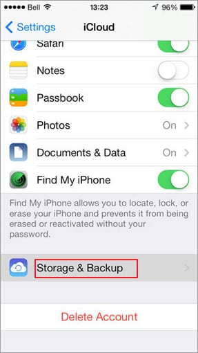 backup iphone contacts with iCloud - step 2