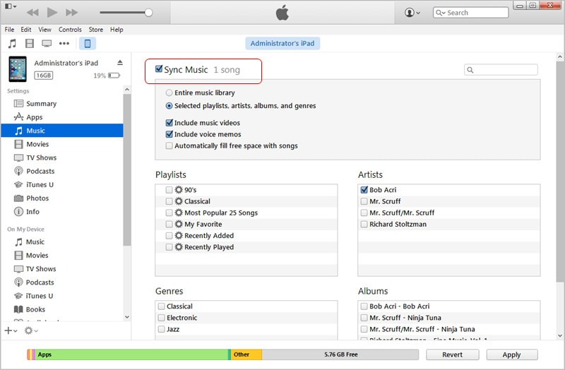 Transfer MP3 to iPad with iTunes: Sync iPad with iTunes