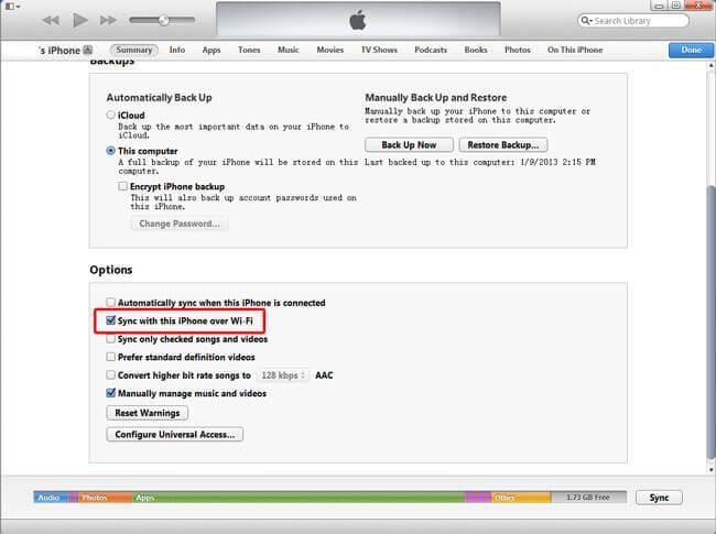Sync iPhone over WiFi