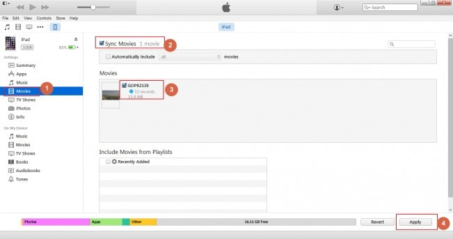 Transfer MP4 to iPad with iTunes-sync movies