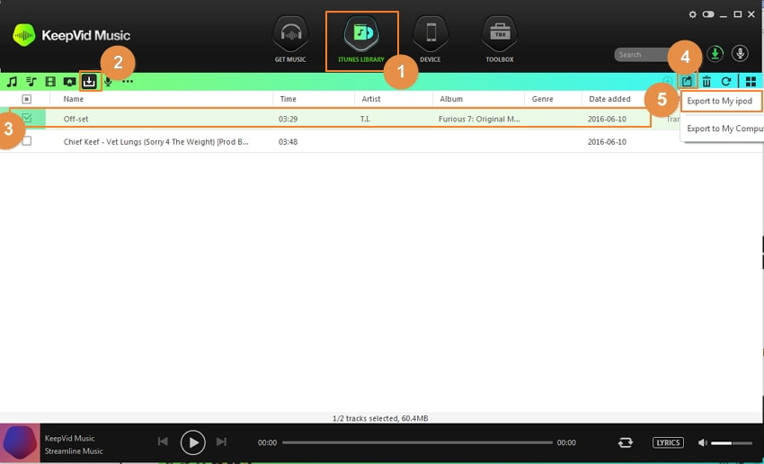 Get Free Music for iPod Touch/Nano/Shuffle Using Keepvid Music-click Export icon