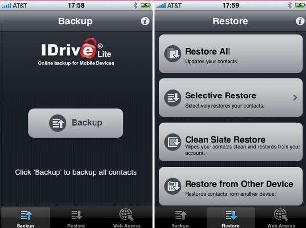 iOS backup app - iDrive Lite