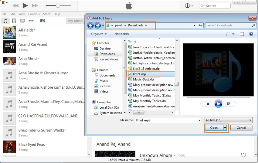 Transfer Audiobooks to iPod Using iTunes-Select the destination folder
