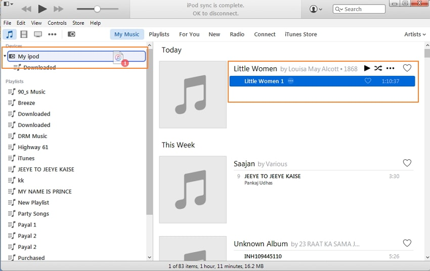 Transfer Audiobooks to iPod Using iTunes-Select the audiobook