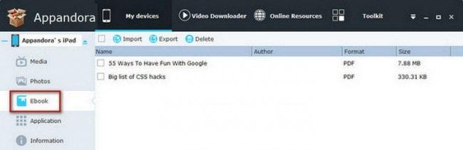 PDF vom iPad auf den PC übertragen mit Appandora - PDF-Dateien auswählen