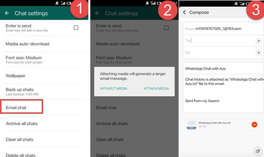 email whatsapp messages from android to iphone