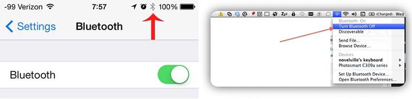 كيفية استخدام airdrop من mac إلى iphone - تشغيل البلوتوث على iPhone و Mac