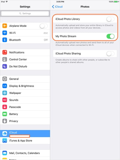 Transfer Pictures from iPad to SD Card with iCloud - Turn on Photos Stream