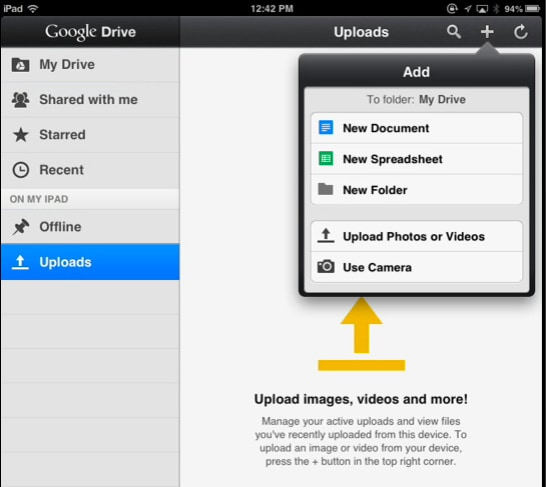 transfer movies from iPad to PC using Google Drive - Add Video