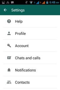backup whatsapp messages-tap the 'Chats and calls' option