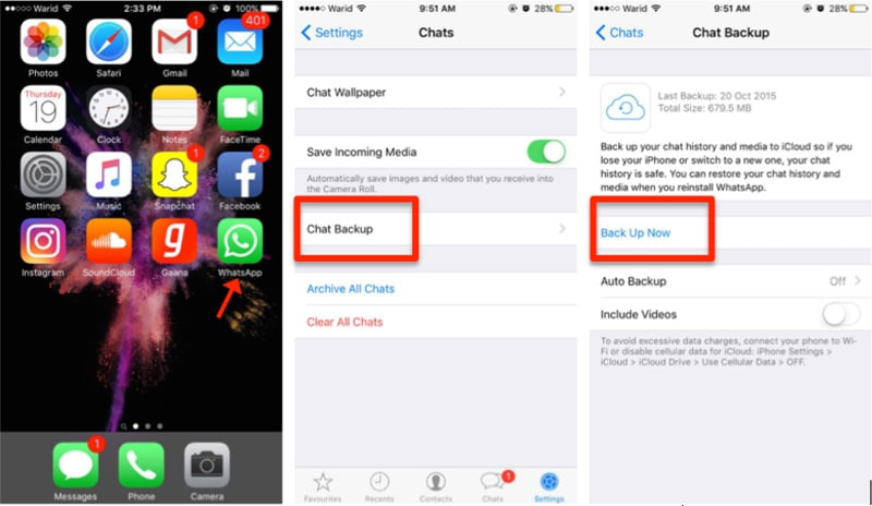 start to transfer whatsapp from iphone to iphone