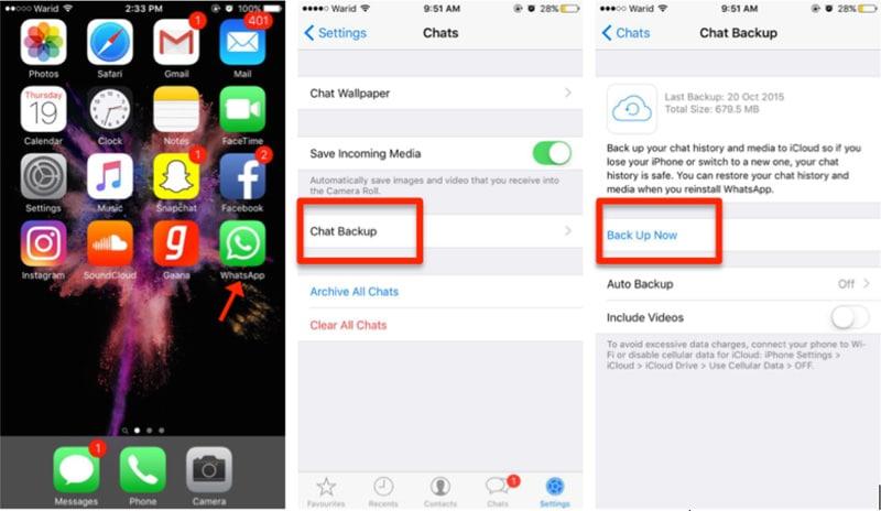 البدء في نقل whatsapp من iphone إلى iphone