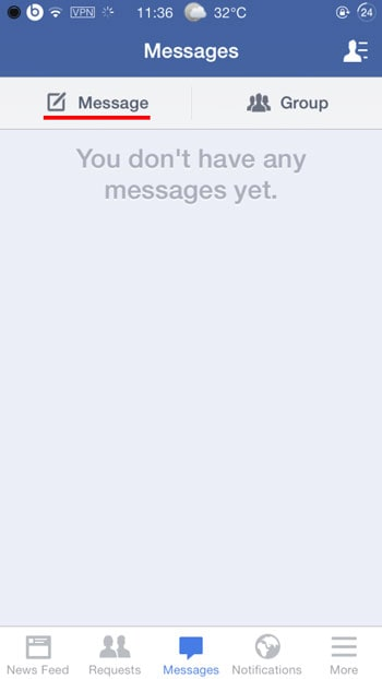 type facebook message