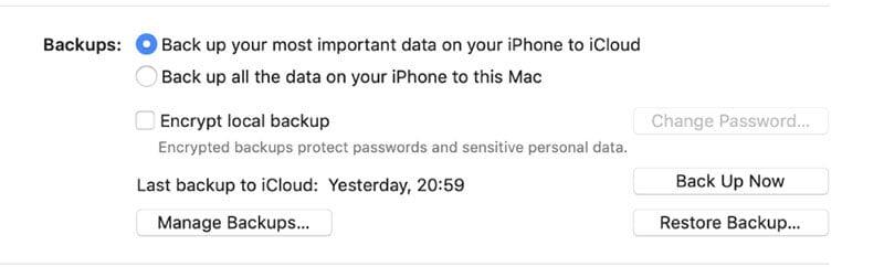 backup important data