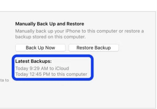 latest backup tab