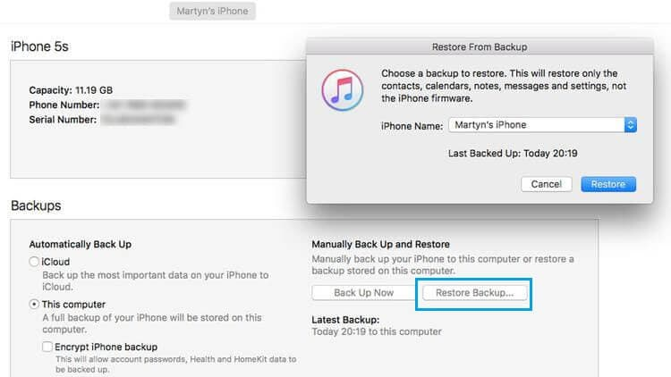 restore itunes backup to iphone