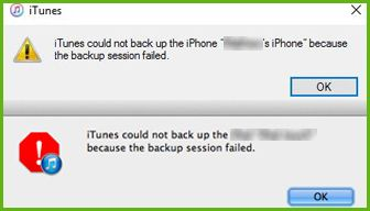 itunes backup failed