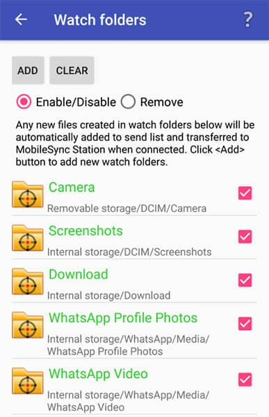 watch folders in mobilesync app