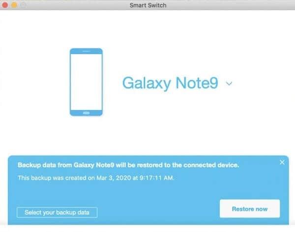 restore Samsung smart backup
