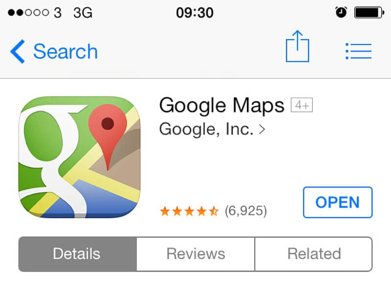 go to google maps app