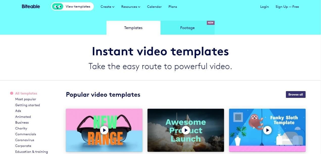 Biteable instagram video maker