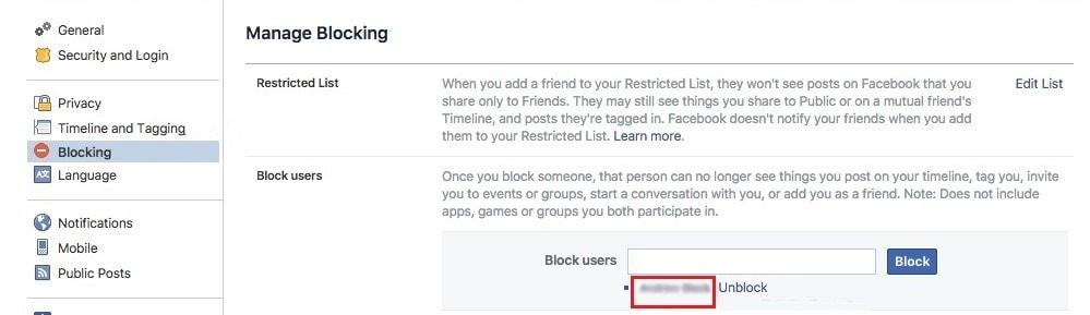 block list on facebook computer