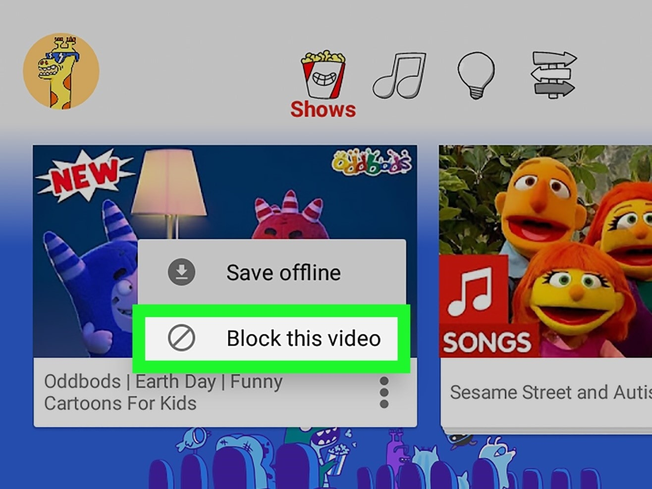 block youtube channel android