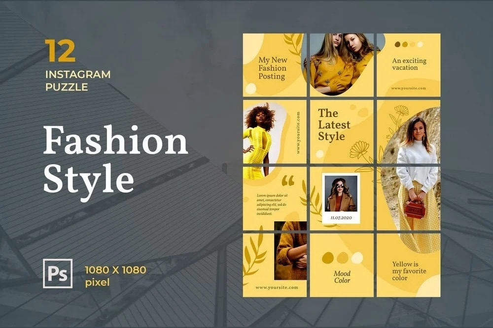 fashion style puzzle feed template