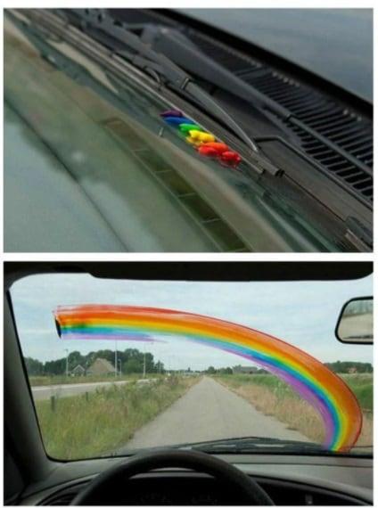 prank idea artificial rainbow