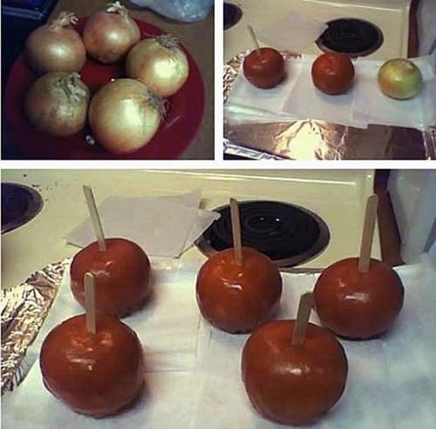 prank idea caramel onions