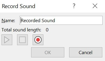 record sound to selected slide