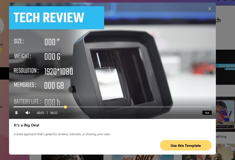 select brand video template