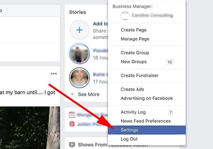 settings option on facebook