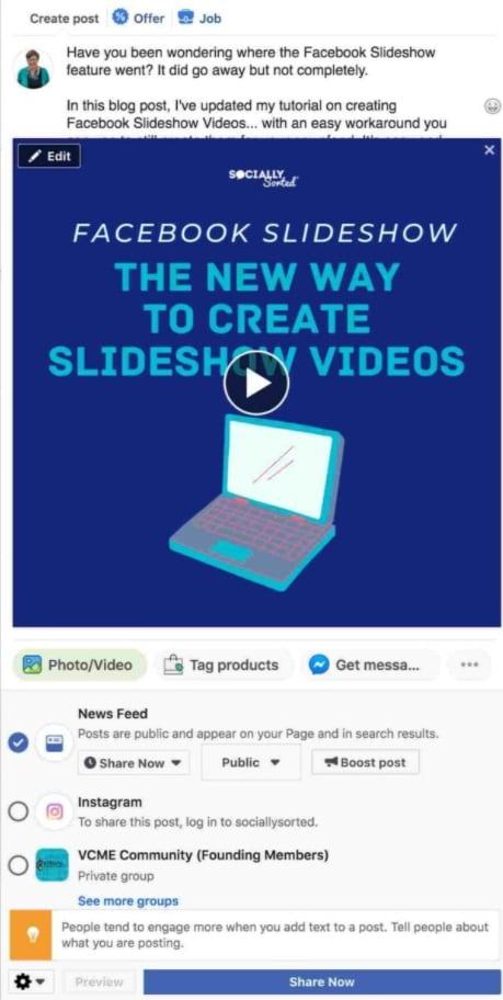 share now facebook slideshow