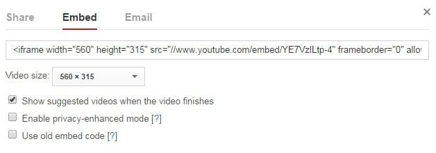 video embedding option