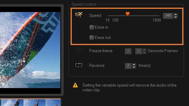 video speed controller corel