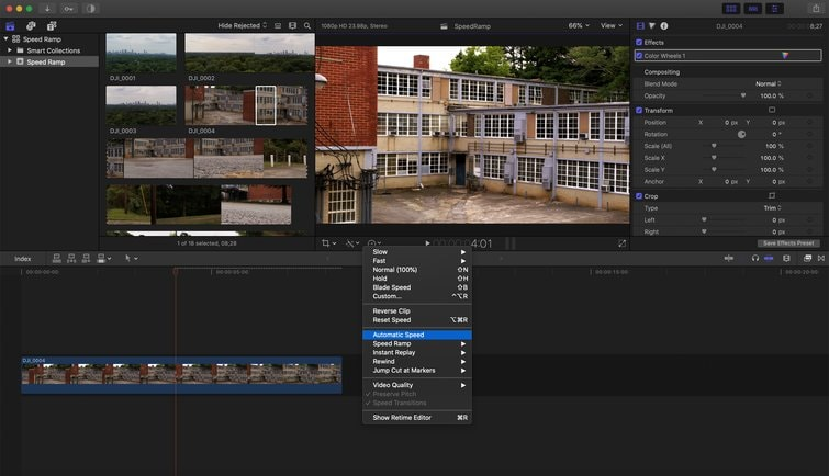video speed controller finalcut